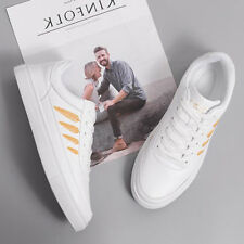 Leaves Pattern Lace Up Women White Skate Shoes - White/Gold (SPJ101233)