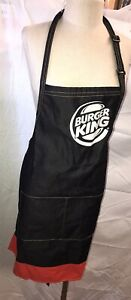 Burger King Employee Uniform Apron Restaurant Black One Size Fits All OSFA NICE