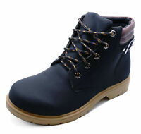LADIES BLACK LACE-UP DESERT COMFY CASUAL HIKING TRAIL ANKLE BOOTS SHOES SIZE 3-7
