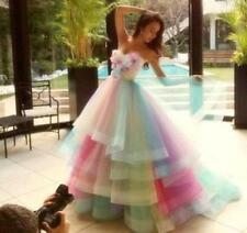 Amazing Rainbow Wedding Dress Colorful Flowers Tiered Tulle Bridal Gown Custom