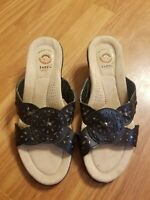 Womens Earth Spirit Leather Slip-On Sandal Size 7.5 Comfort Footbed Gelron 2000