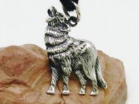 Heulender Wolf 925 Sterling Silber Anhänger Wolf mit Band
