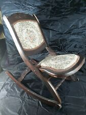 Antique Wood Wooden Folding Rocker Rocking Chair Victorian Tapestry