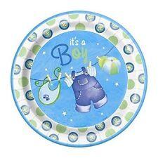 Unique Party 42505 - 23cm Blue Clothesline Baby Shower Plates Pack of