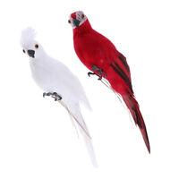 2x Lifelike Bird Ornament Figurine Parrot Statue Lawn Sculpture White & Red