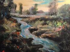 """Nuevo David Aldus original """"Azul Brook, Tamar Valley"""" Devon pintura al óleo de país"""