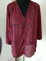 Torrid Harper Women's 1 Red Heart Print Georgette Plus Blouse Top Shirt 1X