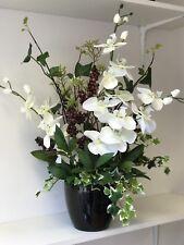 Artificial Flower Arrangement, Ivory Orchid, Berry Display, Black Vase