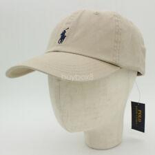 POLO RL MEN'S KHAKI NUBUCK COTTON BASEBALL CAP NAVY SIGNATURE ADJUST GOLF HAT