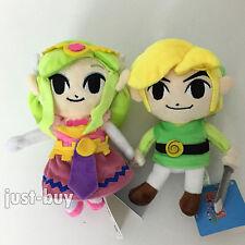 "2 The Legend of Zelda Plush Link Princess Zelda Soft Toy Teddy Stuffed Animal 7"""