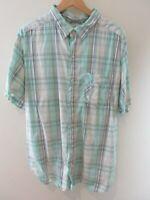 Columbia Mens Shirt Size XL Short Sleeve Button Up Regular Fit White Green Check