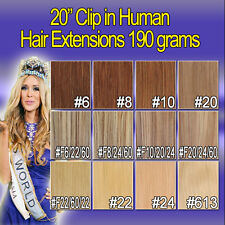 20 inches Clip in Human Hair Extensions Second Drawn 12 pcs 190g New Colors