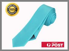 Aqua Light Blue New Slim Solid Mens silk Tie groom wedding skinny Necktie