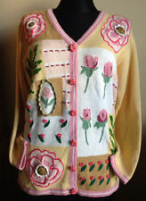 Spring Roses New STORYBOOK KNITS Crochet Cardigan Sweater M Knitted Cute Flower