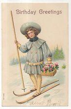 """Birthday Greetings"" Girl on Skis with Basket Vintage Skiing Postcard"