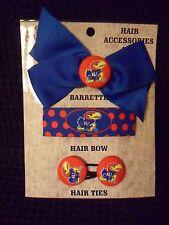 Kansas Jayhawks Ladies 4 Piece Hair Accessory Set Hair Bow Barrette Hair Ties