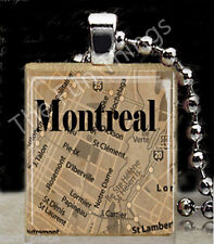 Montreal Map Scrabble Tile Pendant Necklace Charm World Maps Travels Canadian
