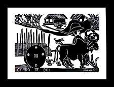 Brazil Folk Art Givanildo Carro de Boi Ox Cart Sugar Cane Farm Fazenda B/W Print
