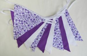 Handmade Quality Bunting. 10 flags. Crimped edges. Double sided. Purple & White.