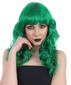 Adult Lolita Green Long Wavy Curly Wig with Bangs Halloween Cosplay Hair HW-169A