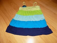 Girls Size 14 Justice Tiered Summer Tank Top Shirt Green Blue Turquoise Navy GUC