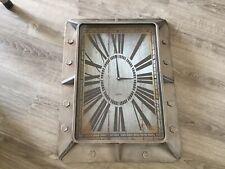 Large Rectangular Metal Industrial Style Wall Clock - Unusual