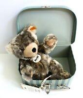 "Steiff Lommy Gray Teddy Bear in Suitcase Stuffed Animal Plush Toy 10"" #109911"