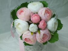 Wedding Bouquets Bridal Bouquet Silk flowers Pink White Peony Hand Made