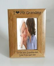 Grandma Photo Frame - I heart-Love My Grandma 5 x 7 Photo Frame - Free Engraving
