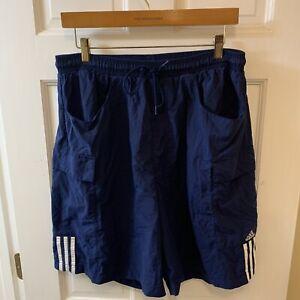 adidas Men Large L Nylon Shorts Cargo Pockets Drawstring Blue Vintage