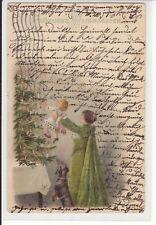 Weihnachten,  Mutter mit Kind, Dackel, vergold. Litho 1902