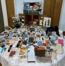 Huge Vintage Junk Drawer Sewing Lot W/ Wood Sewing Box. Lots Of Unopened Items