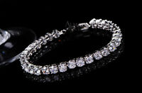 "5.00Ct Diamond Tennis Bracelet 7.25"" 1 Row Round Diamonds 14K White Gold"
