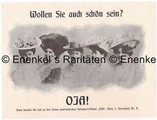 """Werbung, Karikatur, amerik. Parfumerie-Palast """"OJA""""  Petersplatz 11, Wien 1907"""