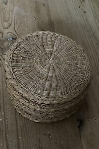 Vintage Round Woven Wicker Rattan Placemats Boho x 8 VGC 17cm