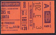 Atlanta Hawks at New York Knicks March 18 1980 Ticket Stub MSG