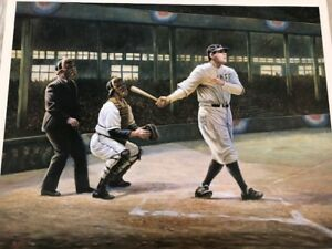 DEALERS DEAL10 LIMITED EDITION 1999 BABE RUTH LITHOGRAPH 34 X 27 OF FAMOUS OIL