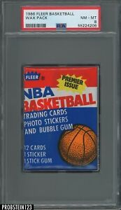 1986 Fleer Basketball Unopened Wax Pack PSA 8 NM-MT Michael Jordan RC Rookie Yr