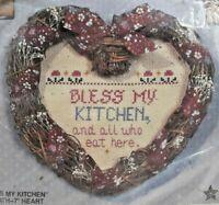 "1980s NIP Bucilla Counted Cross Stitch Kit Bless My Kitchen 7"" Wreath Heart 7707"