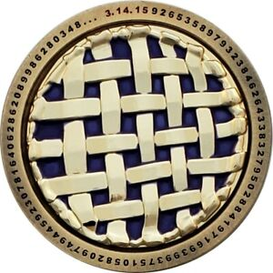 Pi Day Geocoin, Avroair Plum, Antique Gold / Polished Gold LE100, Activated