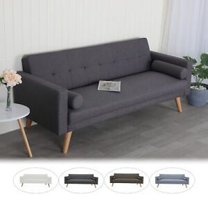 2in1 3Seater Sofa Bed Linen Fabric Upholstered 3 Seater Reclining Settee