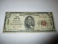 $5 1929 Newton Massachusetts MA National Currency Bank Note Bill Ch #13252 RARE!