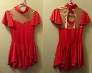 NEW Dancewear Dance Ice Skating Skater Party RED DRESS AS Girls XL Made in USA