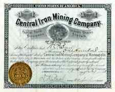 1887 Central Iron Mining of Minneapolis Stock Certificate