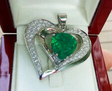 100% 925 Silver White Gold Plated Natural Green Emerald Doublet Heart Pendant