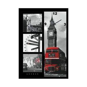 "Mega Bild mit Wanduhr in 3D "" England-London-Bus "" in ca. 70x50cm gerahmt"