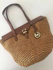 Michael Kors Straw Naomi Walnut Leather Large Tote 30H5GS2T3W Shoulder Bag NWT