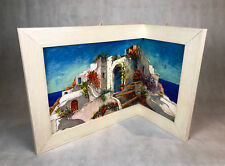 Eckleinwandbild Gemälde Holzrahmen Casa Bianca Eckbild Italien mit Rahmen H46cm