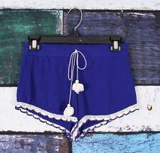 LA Hearts Pacsun Blue Crinkle Rayon Boho Lace Trim Tassel Festival Shorts SMALL