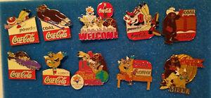 2002 Salt Lake Winter Olympics Sponser 10 Pin lot - Coca-Cola Mascot Pins